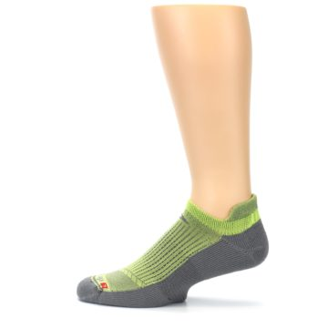 Image of Gray Lime Green Men's No-Show Tab Athletic Socks (side-2-12)