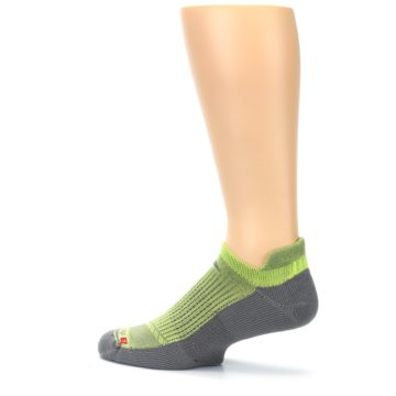 Image of Gray Lime Green Men's No-Show Tab Athletic Socks (side-2-13)