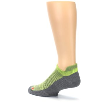 Image of Gray Lime Green Men's No-Show Tab Athletic Socks (side-2-back-14)