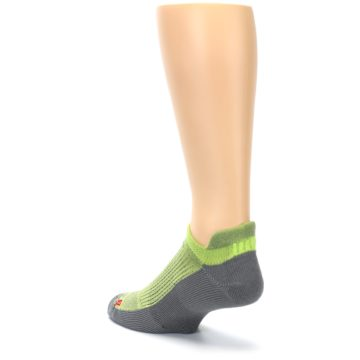 Image of Gray Lime Green Men's No-Show Tab Athletic Socks (side-2-back-15)