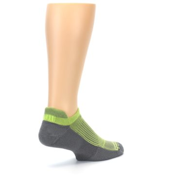 Image of Gray Lime Green Men's No-Show Tab Athletic Socks (side-1-back-22)