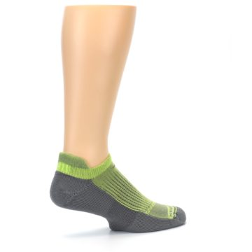 Image of Gray Lime Green Men's No-Show Tab Athletic Socks (side-1-23)