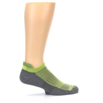 Image of Gray Lime Green Men's No-Show Tab Athletic Socks (side-1-24)