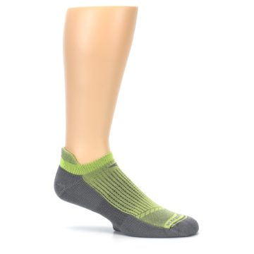 Image of Gray Lime Green Men's No-Show Tab Athletic Socks (side-1-25)
