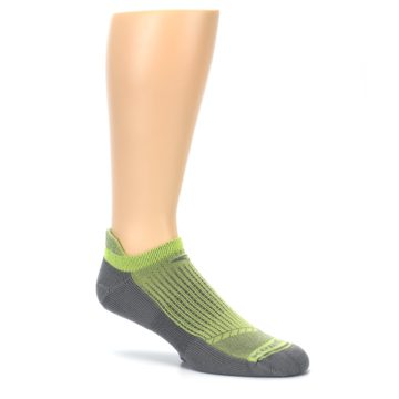Image of Gray Lime Green Men's No-Show Tab Athletic Socks (side-1-26)
