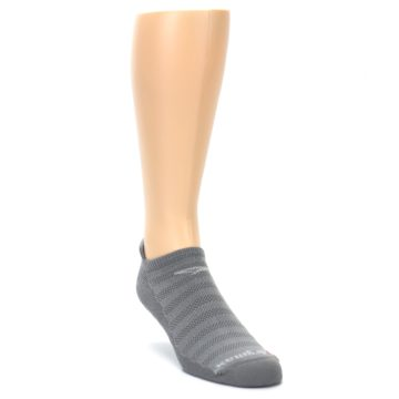Image of Gray Solid Men's No-Show Tab Athletic Socks (side-1-front-02)