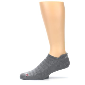 Image of Gray Solid Men's No-Show Tab Athletic Socks (side-2-11)