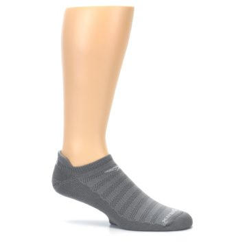 Image of Gray Solid Men's No-Show Tab Athletic Socks (side-1-25)