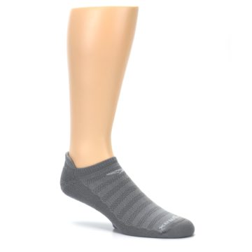 Image of Gray Solid Men's No-Show Tab Athletic Socks (side-1-26)