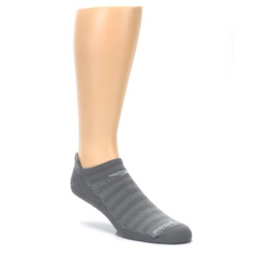 Image of Gray Solid Men's No-Show Tab Athletic Socks (side-1-27)
