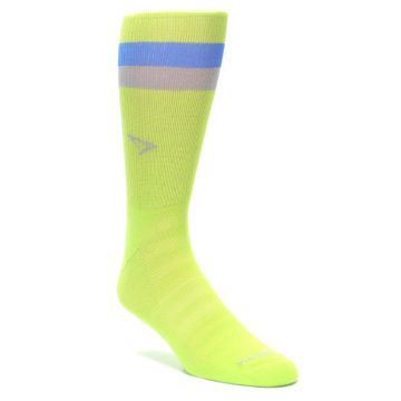 LARGE-Lime-Green-Blue-Stripe-Mens-Athletic-Crew-Socks-Drymax
