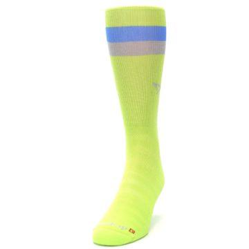 Image of Lime Green Blue Stripe Men's Athletic Crew Socks (side-2-front-06)