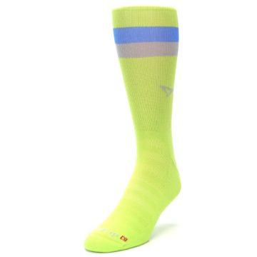 Image of Lime Green Blue Stripe Men's Athletic Crew Socks (side-2-front-07)