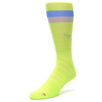 Image of Lime Green Blue Stripe Men's Athletic Crew Socks (side-2-front-08)