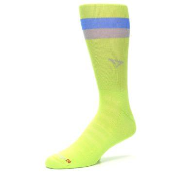 Image of Lime Green Blue Stripe Men's Athletic Crew Socks (side-2-09)