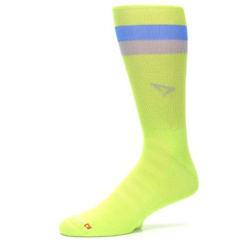 Image of Lime Green Blue Stripe Men's Athletic Crew Socks (side-2-10)