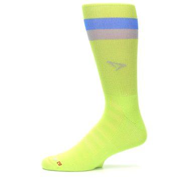 Image of Lime Green Blue Stripe Men's Athletic Crew Socks (side-2-11)