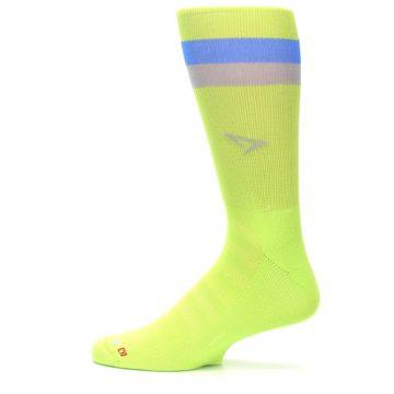 Image of Lime Green Blue Stripe Men's Athletic Crew Socks (side-2-12)