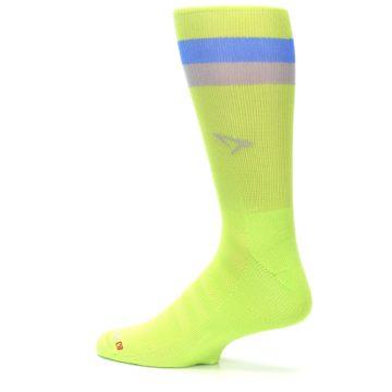Image of Lime Green Blue Stripe Men's Athletic Crew Socks (side-2-13)