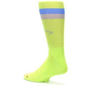 Image of Lime Green Blue Stripe Men's Athletic Crew Socks (side-2-back-14)