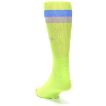 Image of Lime Green Blue Stripe Men's Athletic Crew Socks (side-2-back-16)