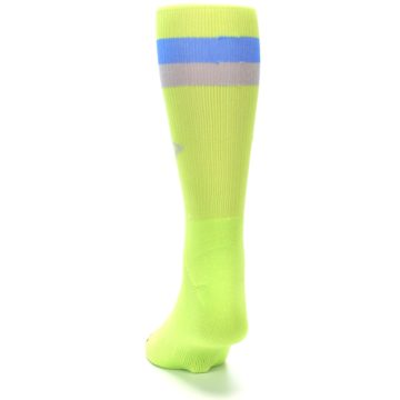 Image of Lime Green Blue Stripe Men's Athletic Crew Socks (back-17)