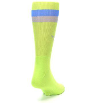 Image of Lime Green Blue Stripe Men's Athletic Crew Socks (side-1-back-20)