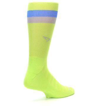 Image of Lime Green Blue Stripe Men's Athletic Crew Socks (side-1-back-22)