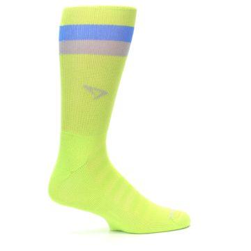Image of Lime Green Blue Stripe Men's Athletic Crew Socks (side-1-24)