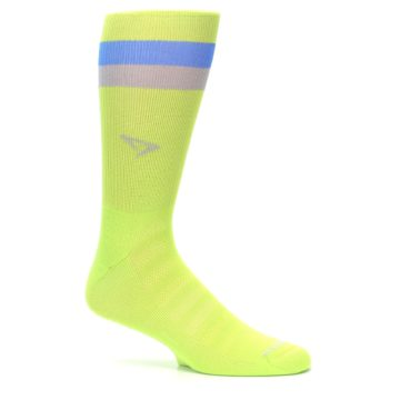 Image of Lime Green Blue Stripe Men's Athletic Crew Socks (side-1-25)