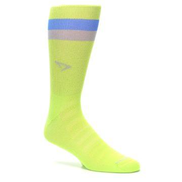 Image of Lime Green Blue Stripe Men's Athletic Crew Socks (side-1-26)