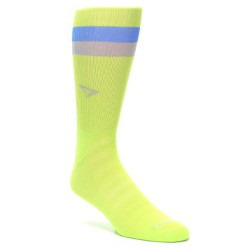Image of Lime Green Blue Stripe Men's Athletic Crew Socks (side-1-27)
