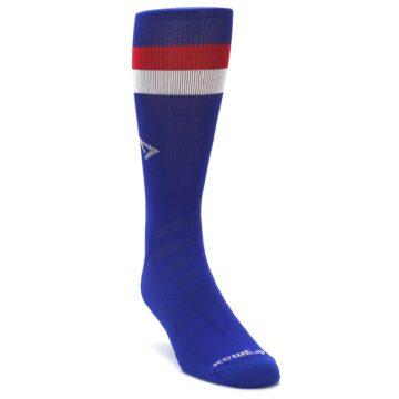 Image of Blue Red Stripe Men's Athletic Crew Socks (side-1-front-02)