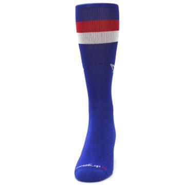 Image of Blue Red Stripe Men's Athletic Crew Socks (front-05)