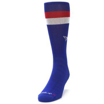 Image of Blue Red Stripe Men's Athletic Crew Socks (side-2-front-06)