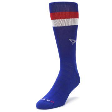 Image of Blue Red Stripe Men's Athletic Crew Socks (side-2-front-07)