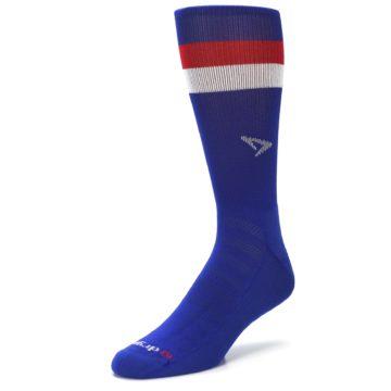 Image of Blue Red Stripe Men's Athletic Crew Socks (side-2-front-08)