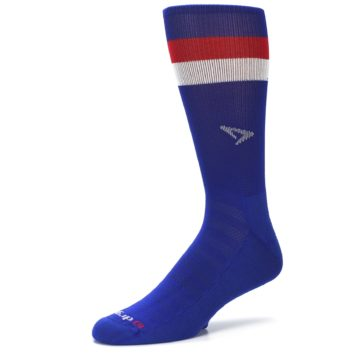 Image of Blue Red Stripe Men's Athletic Crew Socks (side-2-09)