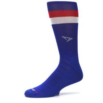 Image of Blue Red Stripe Men's Athletic Crew Socks (side-2-10)