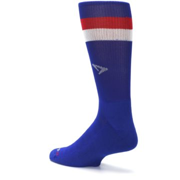 Image of Blue Red Stripe Men's Athletic Crew Socks (side-2-back-14)