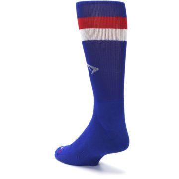 Image of Blue Red Stripe Men's Athletic Crew Socks (side-2-back-15)