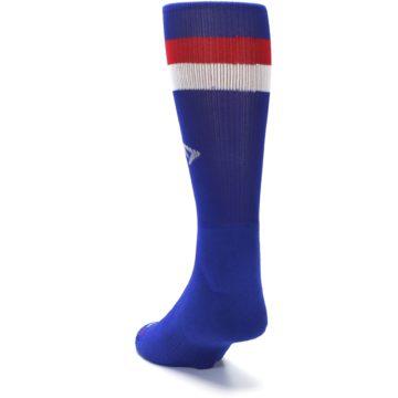 Image of Blue Red Stripe Men's Athletic Crew Socks (side-2-back-16)