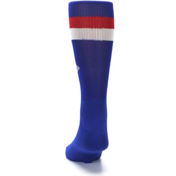 Image of Blue Red Stripe Men's Athletic Crew Socks (back-17)