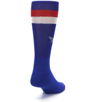 Image of Blue Red Stripe Men's Athletic Crew Socks (side-1-back-20)