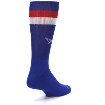 Image of Blue Red Stripe Men's Athletic Crew Socks (side-1-back-21)