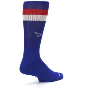 Image of Blue Red Stripe Men's Athletic Crew Socks (side-1-back-22)