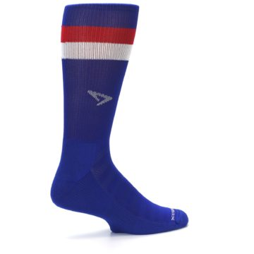 Image of Blue Red Stripe Men's Athletic Crew Socks (side-1-23)