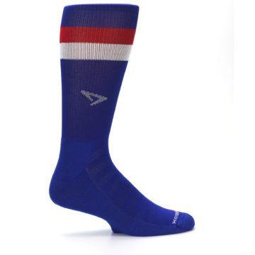 Image of Blue Red Stripe Men's Athletic Crew Socks (side-1-24)