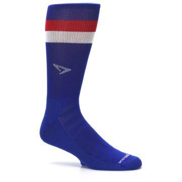 Image of Blue Red Stripe Men's Athletic Crew Socks (side-1-25)