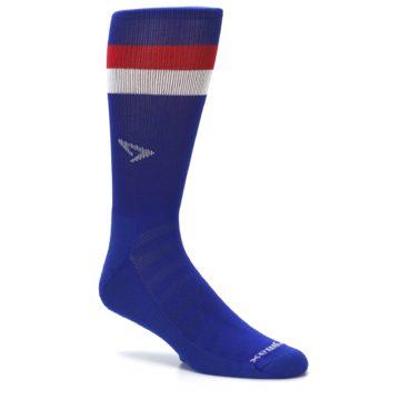 Image of Blue Red Stripe Men's Athletic Crew Socks (side-1-26)